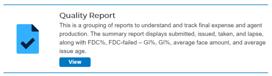 GWIC View button under Quality Report img