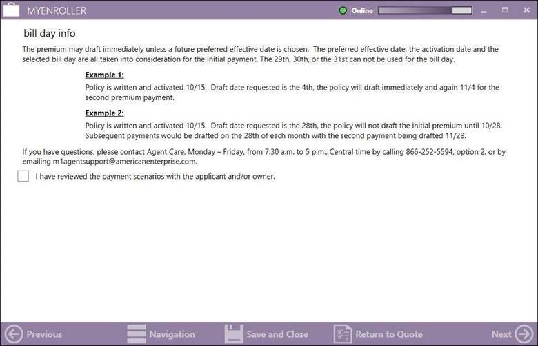 GWIC MyEnroller screenshot Effective-Date image