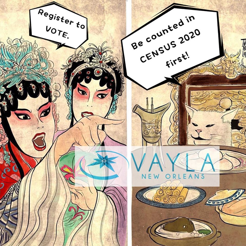 """two-panel graphic of traditionally dressed chinese women yelling """"register to vote"""" and pointing to a cat sitting at a table saying """"be counted in Census 2020 first!"""""""