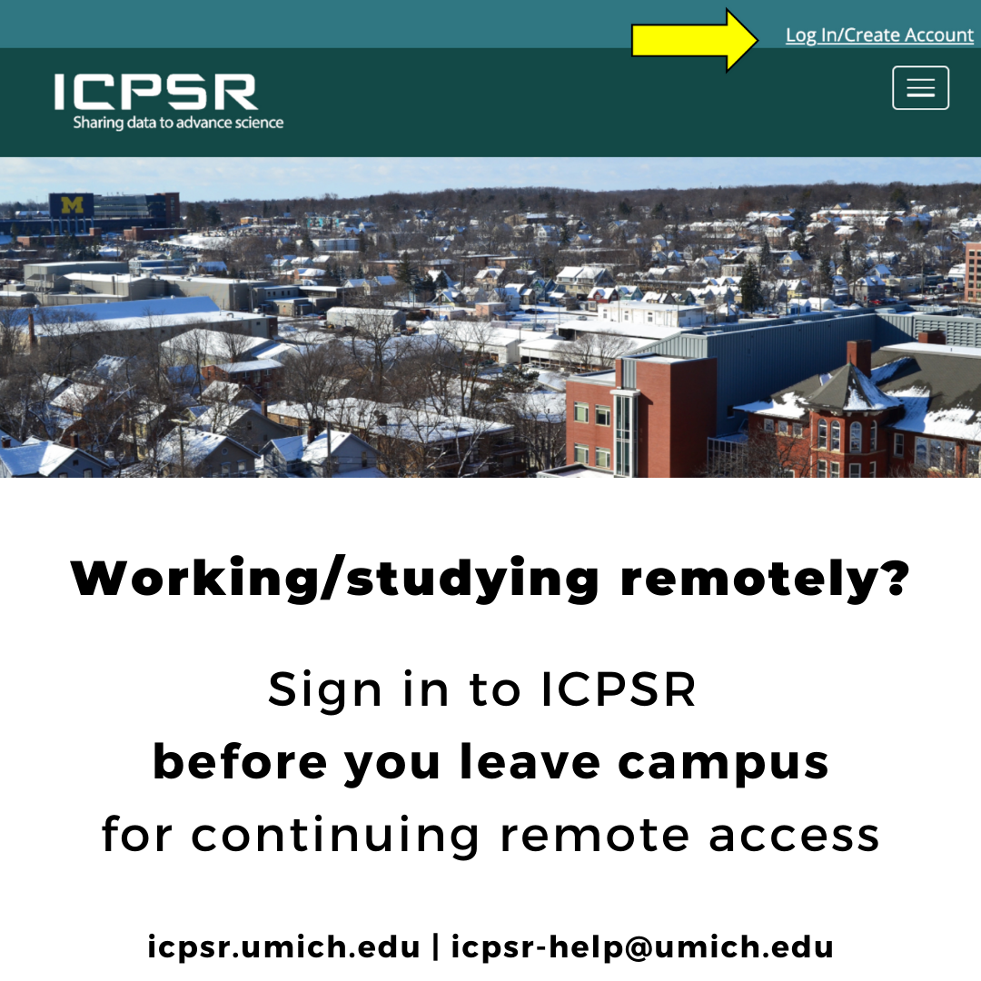 Log in to ICPSR for continuing remote access