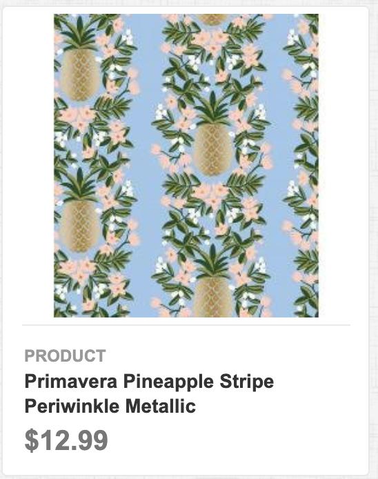 Primavera Pineapple Stripe Periwinkle Metallic