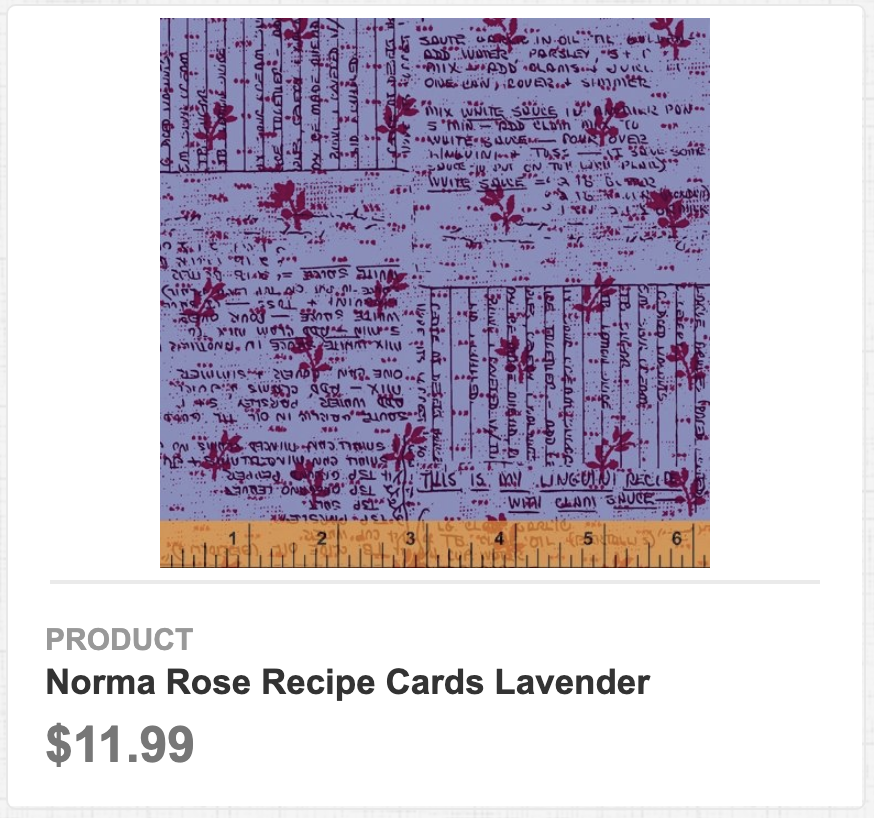 Norma Rose Recipe Cards Lavender