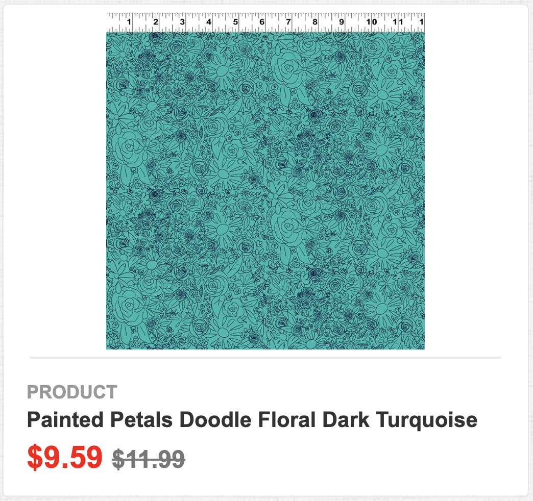 Painted Petals Doodle Floral Dark Turquoise