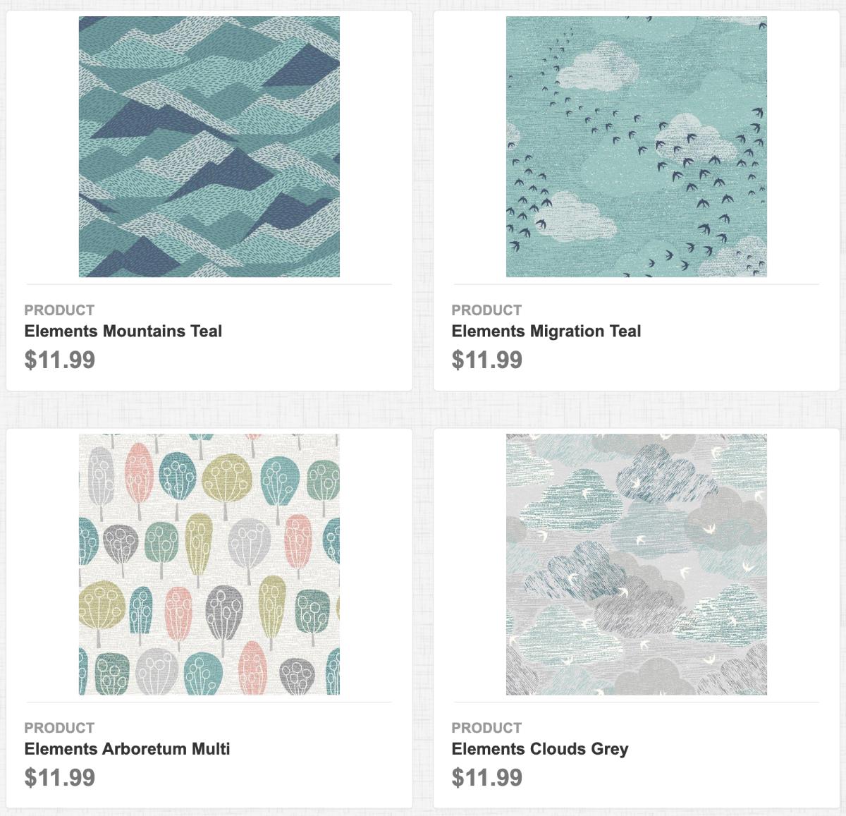 Elements: Mountains Teal, Migration Teal, Arboretum Multi, Clouds Grey