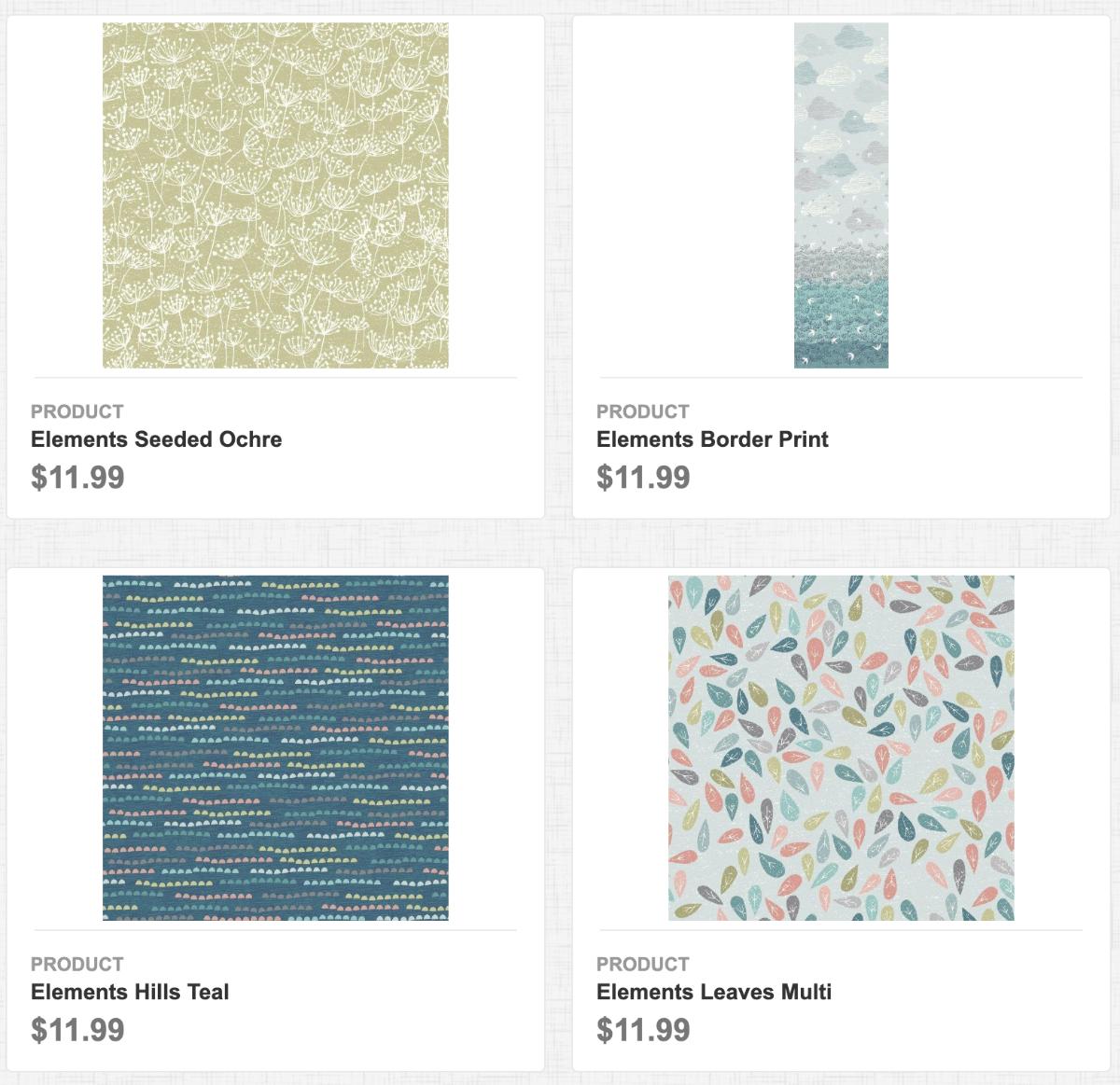 Elements: Seeded Ochre, Border Print, Hills Teal, Leaves Multi