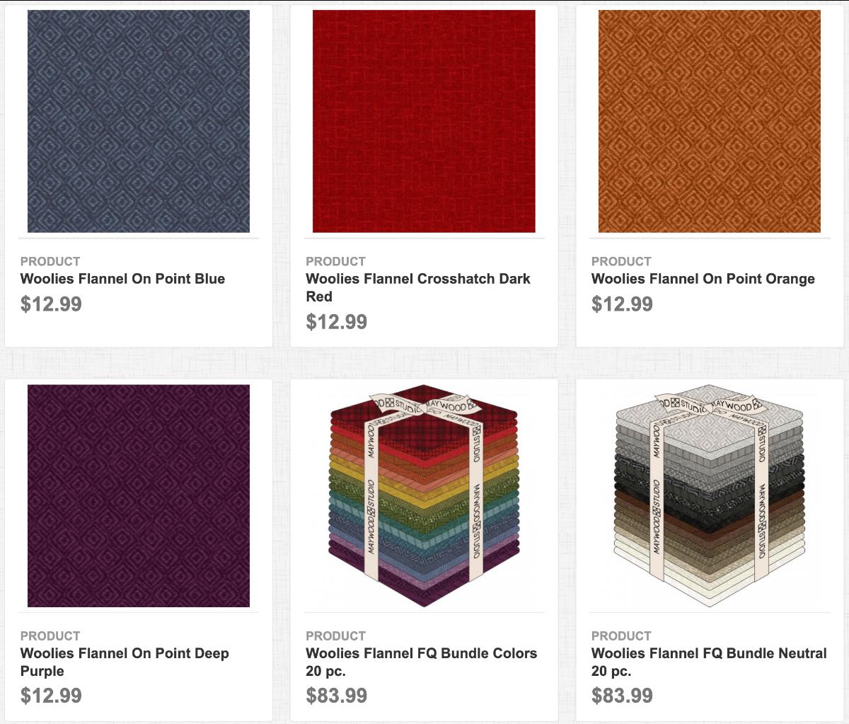 Woolies Flannel On Point Blue, Crosshatch Dark Red, On Point Orange, On Point Deep Purple, FQ Bundle Colors 20pc., & FQ Bundle Neutral 20pc.