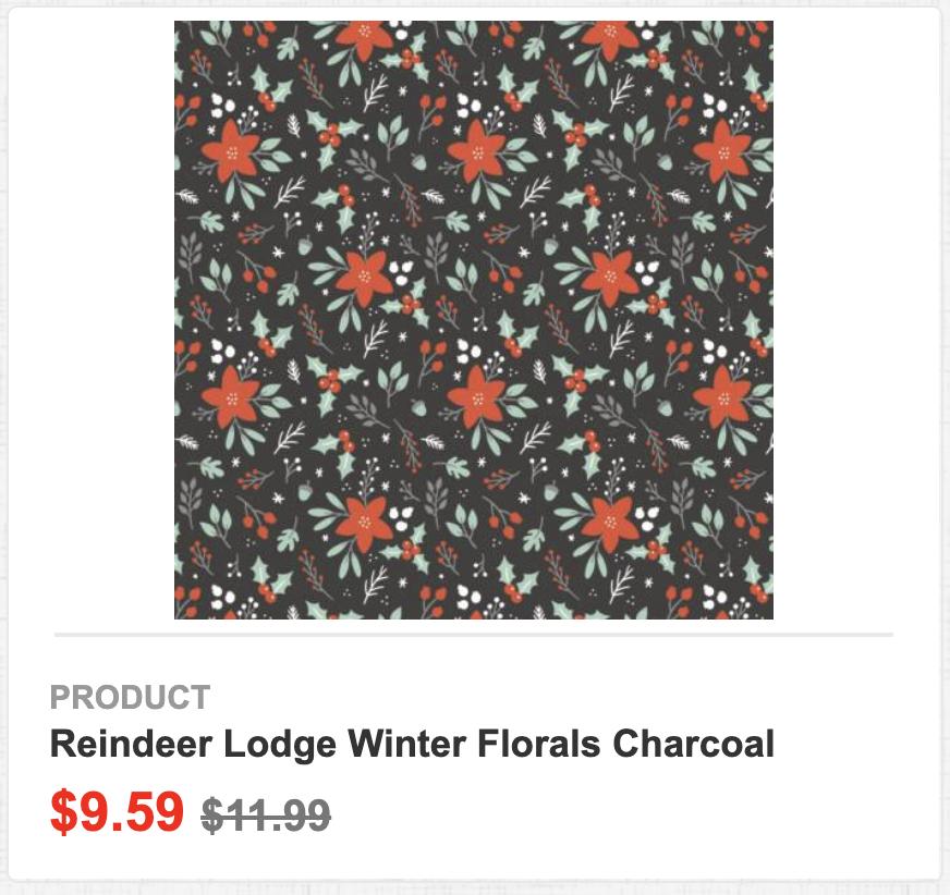 Reindeer Lodge Winter Florals Charcoal