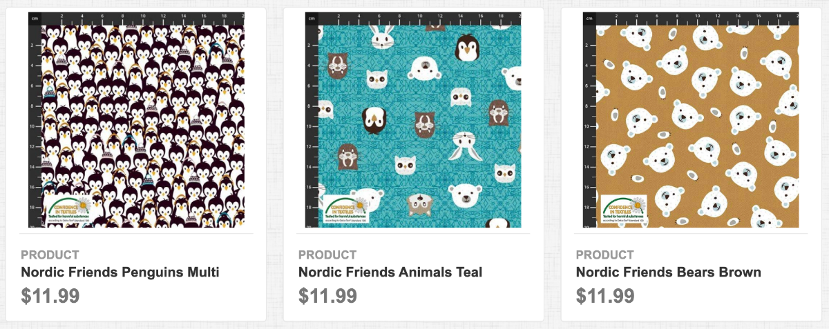 Nordic Friends Penguins Multi, Animals Teal, and Bears Brown