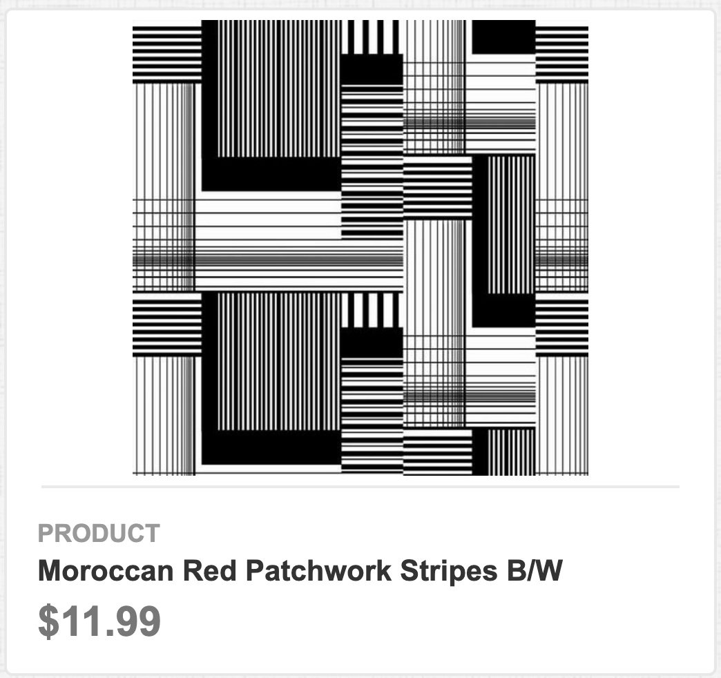 Moroccan Red Patchwork Stripes B/W