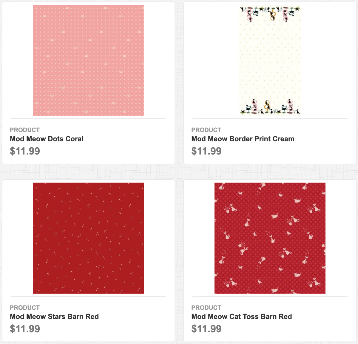 Mod Meow Dots Coral, Border Print Cream, Stars Barn Red, Cat Toss Barn Red