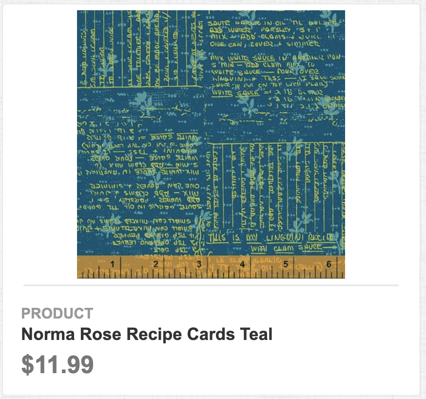 Norma Rose Recipe Cards Teal