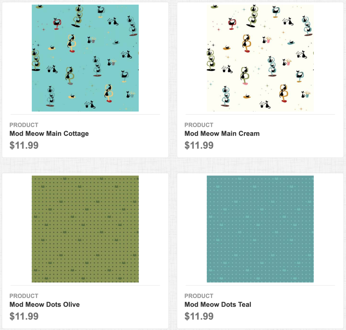 Mod Meow Main Cottage, Main Cream, Dots Olive, Dots Teal