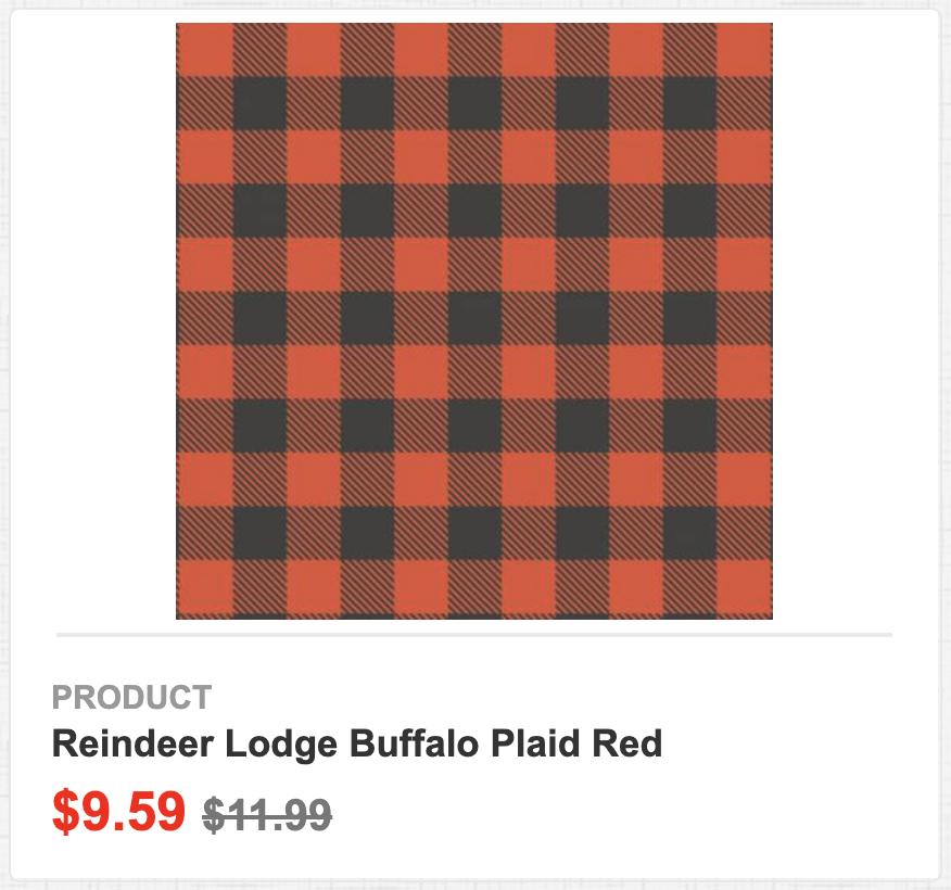Reindeer Lodge Buffalo Plaid Red