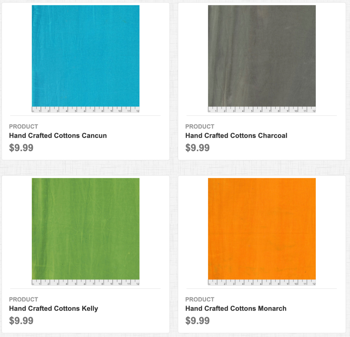 Hand Crafted Cottons: Cancun, Charcoal, Kelly, and Monarch