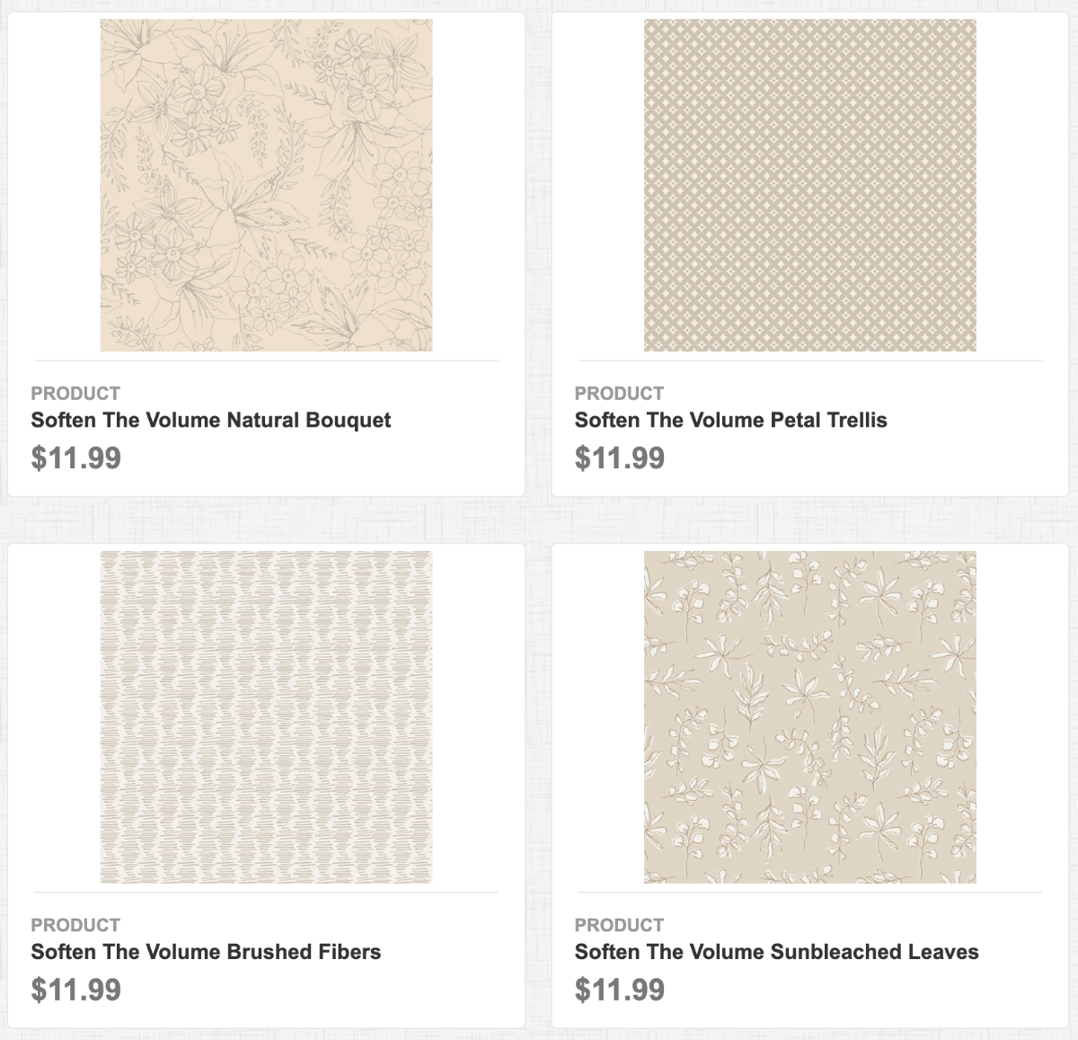 Soften The Volume Natural Bouquet, Petal Trellis, Brushed Fibers, and Sunbleached Leaves