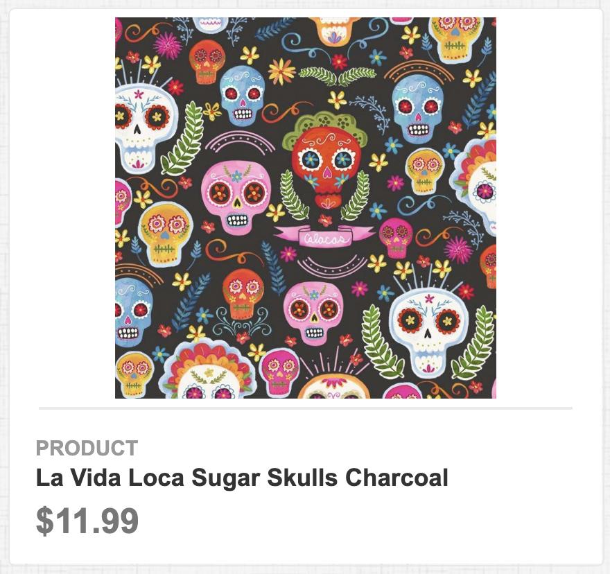 La Vida Loca Sugar Skulls Charcoal