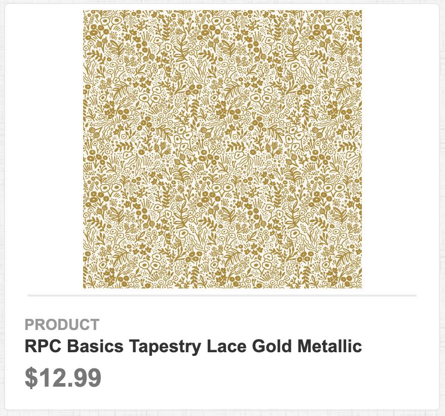 RPC Basics Tapestry Lace Gold Metallic