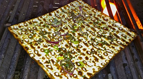 Grilled Matzo with Garlic and Herbs