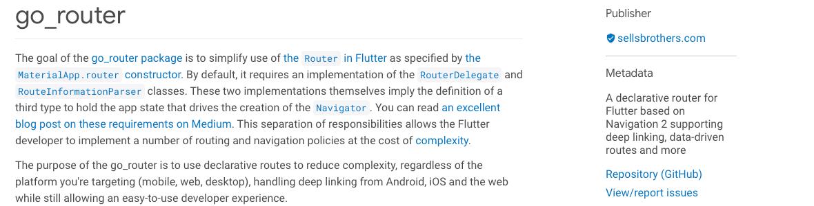 Image go_router: Navigator 2.0 made easy