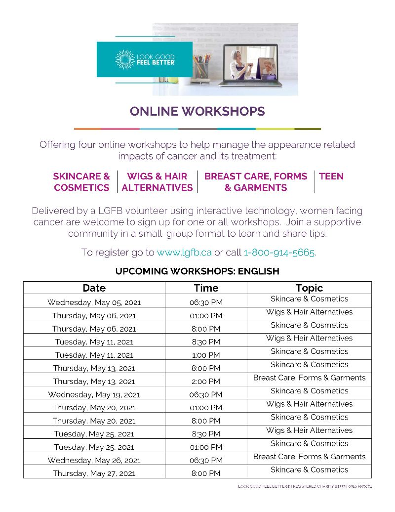 Look Good Feel Better Online Workshop for the month of May, 2021
