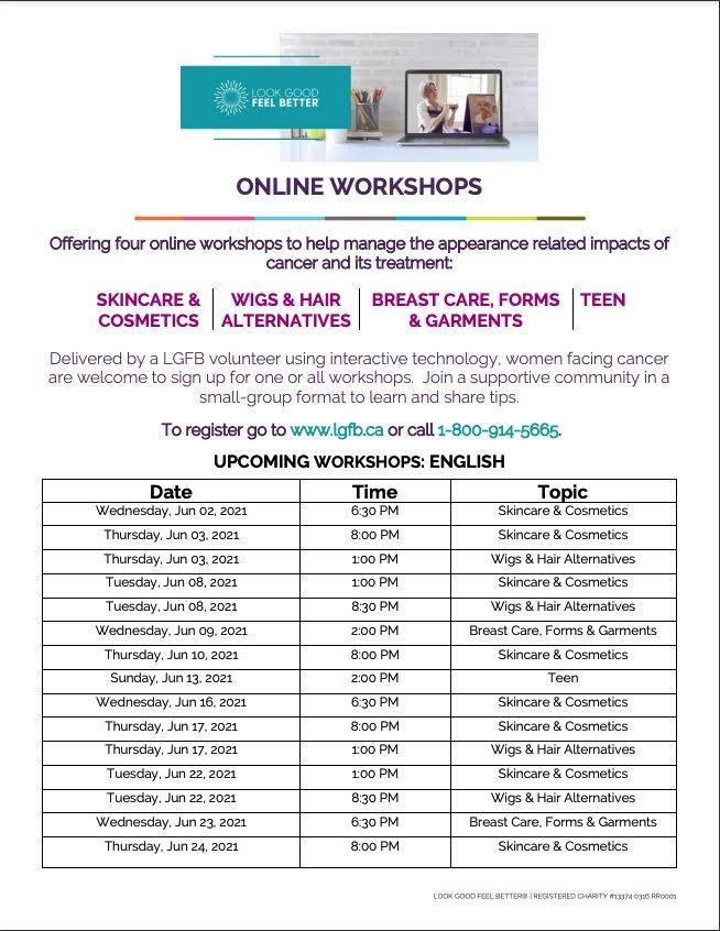 Look Good Feel Better Online Workshops