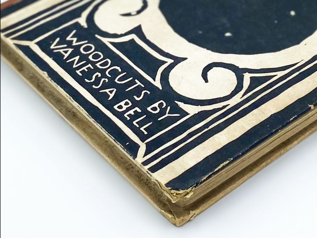 """Detail of front board reading """"Woocuts by Vanessa Bell"""""""