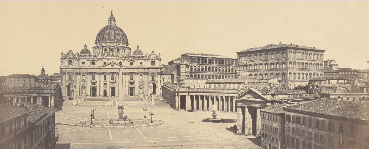 Robert Macpherson, Piazza of St. Peter's, ca. 1860, albumen print on paper mounted to board, Yale Center for British Art, transfer from the Yale University Art Gallery