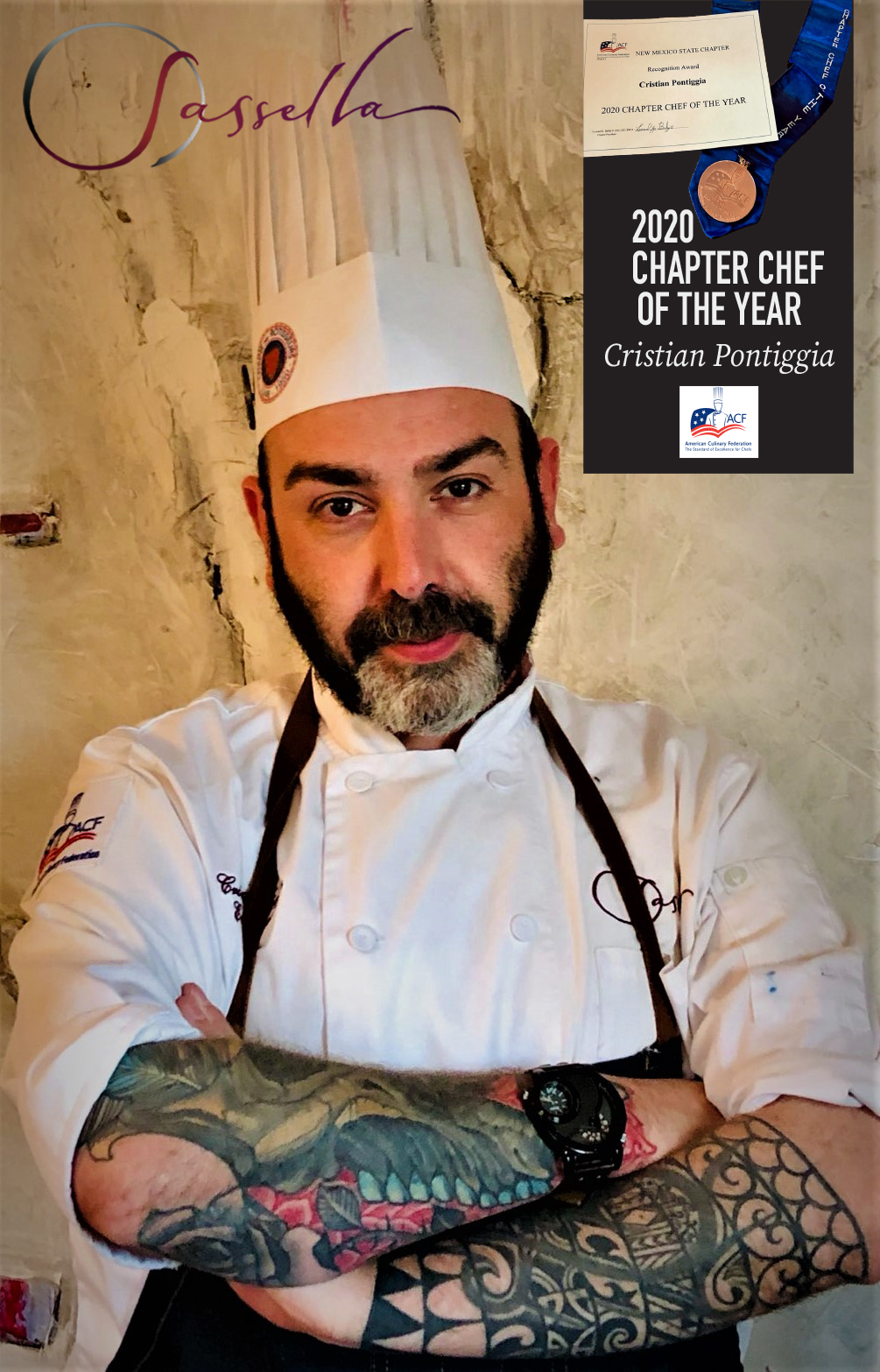 SASSELLA'S CRISTIAN PONTIGGIA HAS BEEN NAMED THE AMERICAN CULINARY FEDERATION'S 2020 NEW MEXICO CHAPTER CHEF OF THE YEAR!