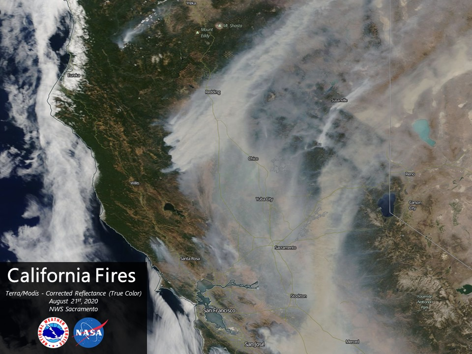 satellite picture of California wildfires, August 21, 2020