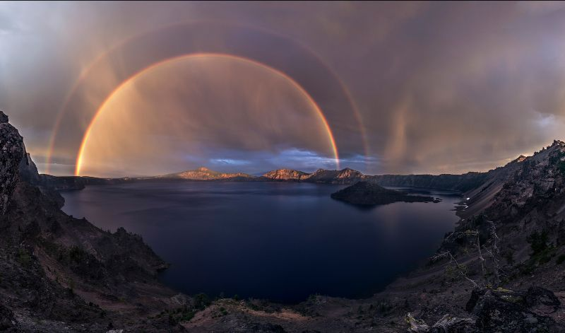 double rainbow at Crater Lake National Park