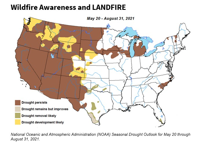 Wildfire Awareness and LANDFIRE, map of U.S. that projects seasonal drought outlook for May 20 - Aug 31, 2021