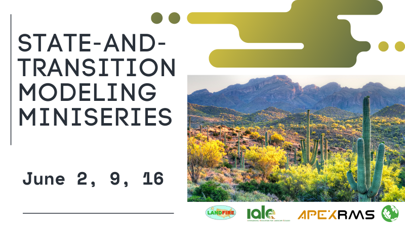 state and transition modeling miniseries, June 2, 9, 16. Decorative picture of saguaro cactus and desert wildflowers. Sponsored by: LANDFIRE, International Association of Landscape Ecologists, ApexRMS, The Nature Conservancy
