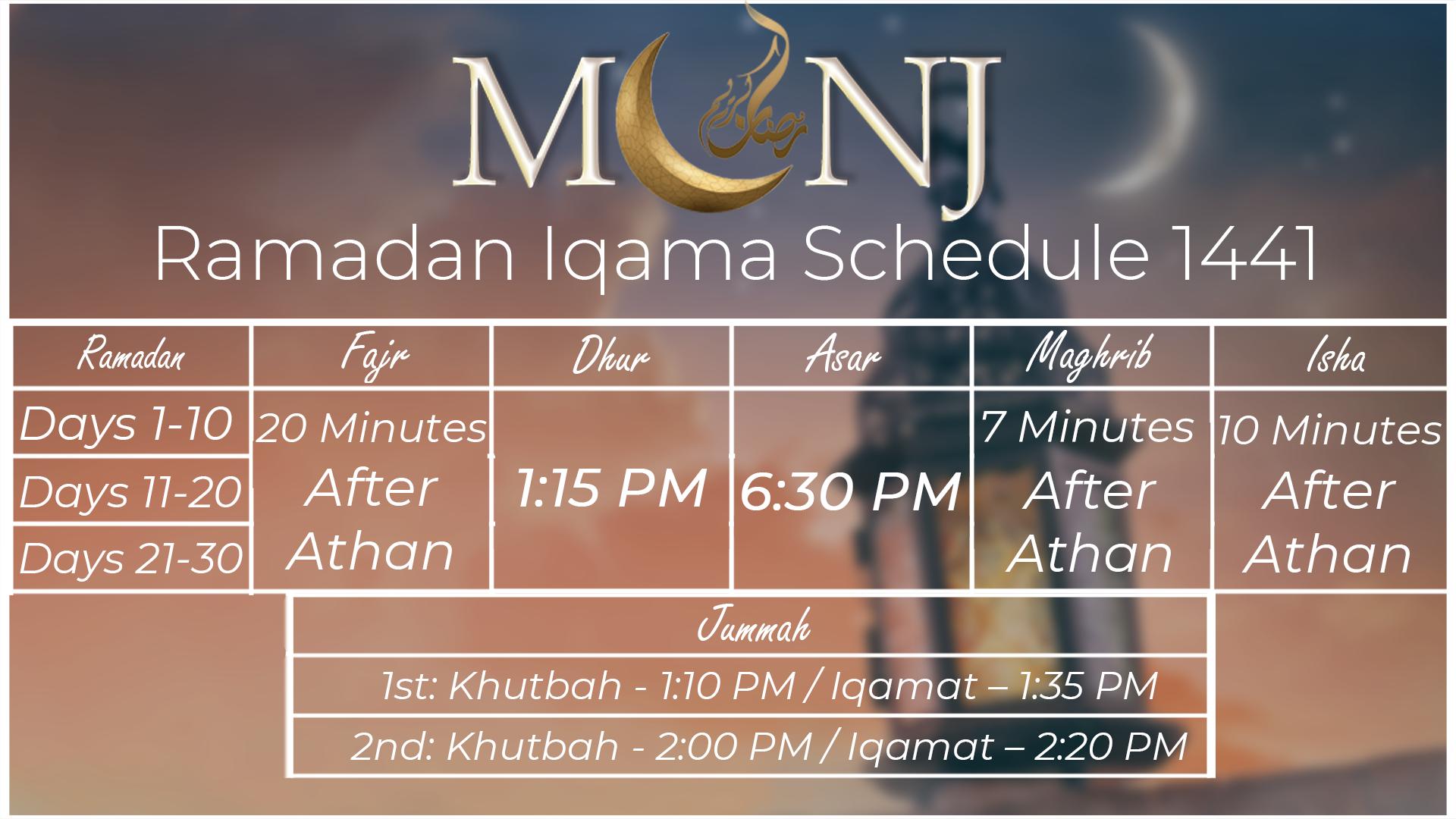 MCNJ Ramadan Iqama Schedule