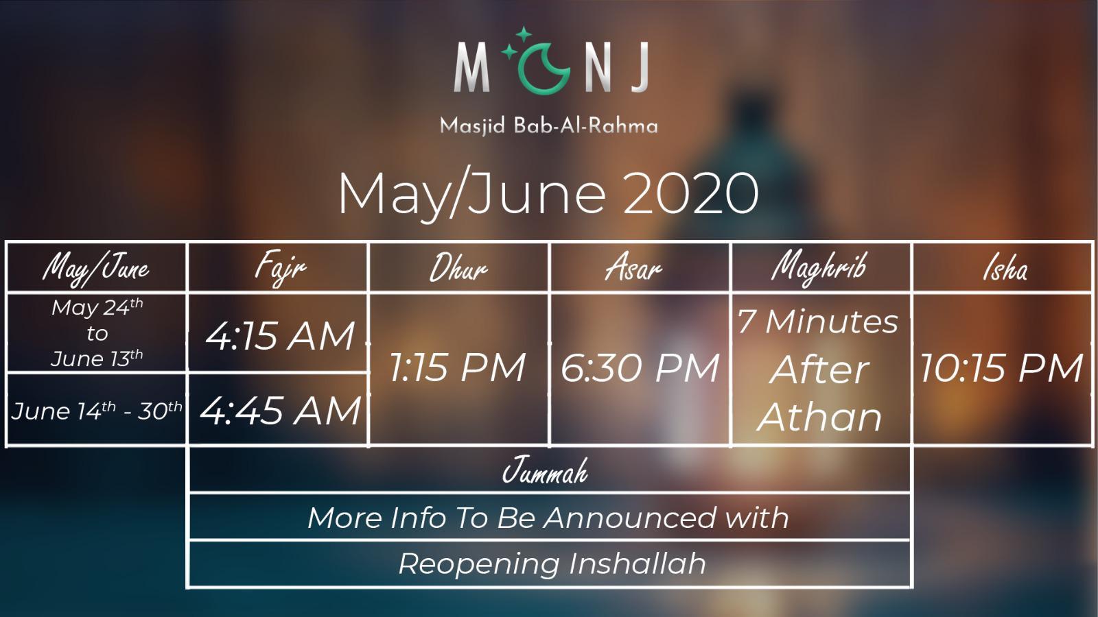 June Iqma Schedule