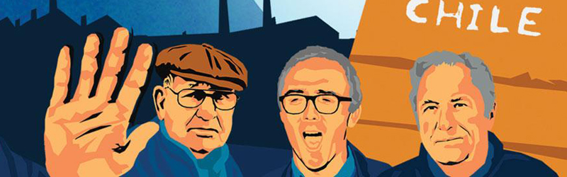 An illustration depicting three men from the film Nae Pasaran, one with his hand raised in protest.