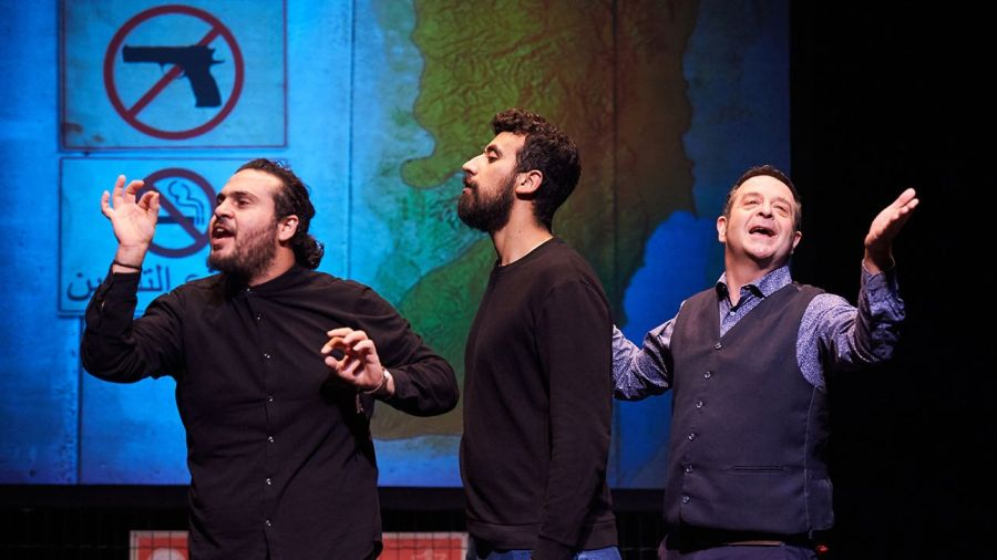 Image from Showtime from the Frontline showing Alaa, Faisal and Mark on stage.