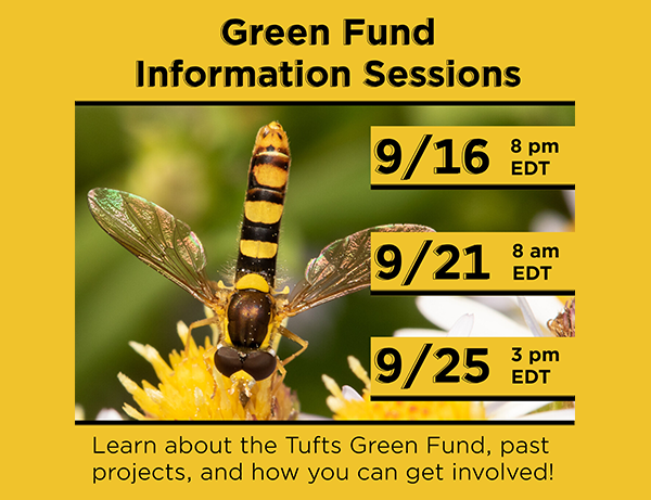 Graphic with Green Fund Information Session dates and times