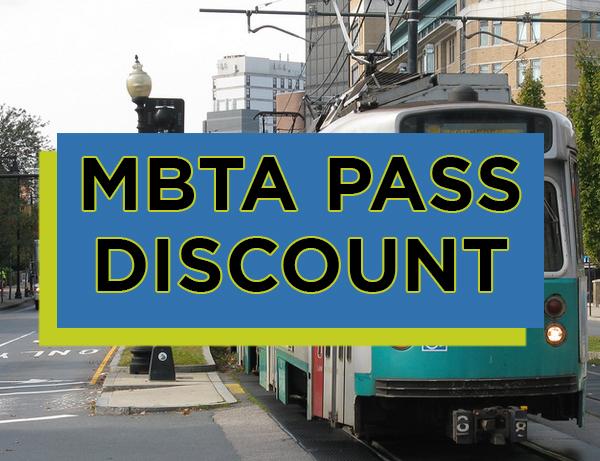 MBTA Pass Discount written over image of Boston T subway line