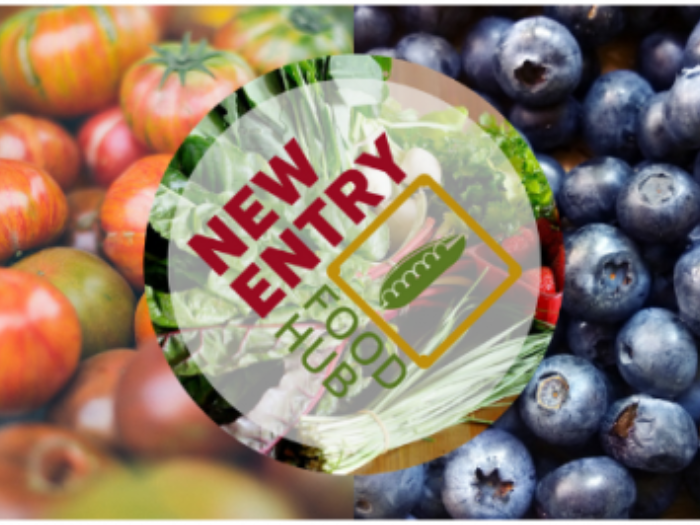 New Entry Food Hub logo with a background of tomatoes and blueberries