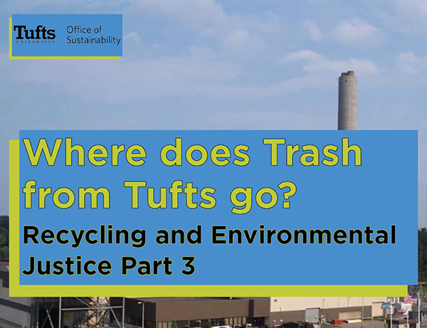 power plant behind text: Where does Trash from Tufts go?