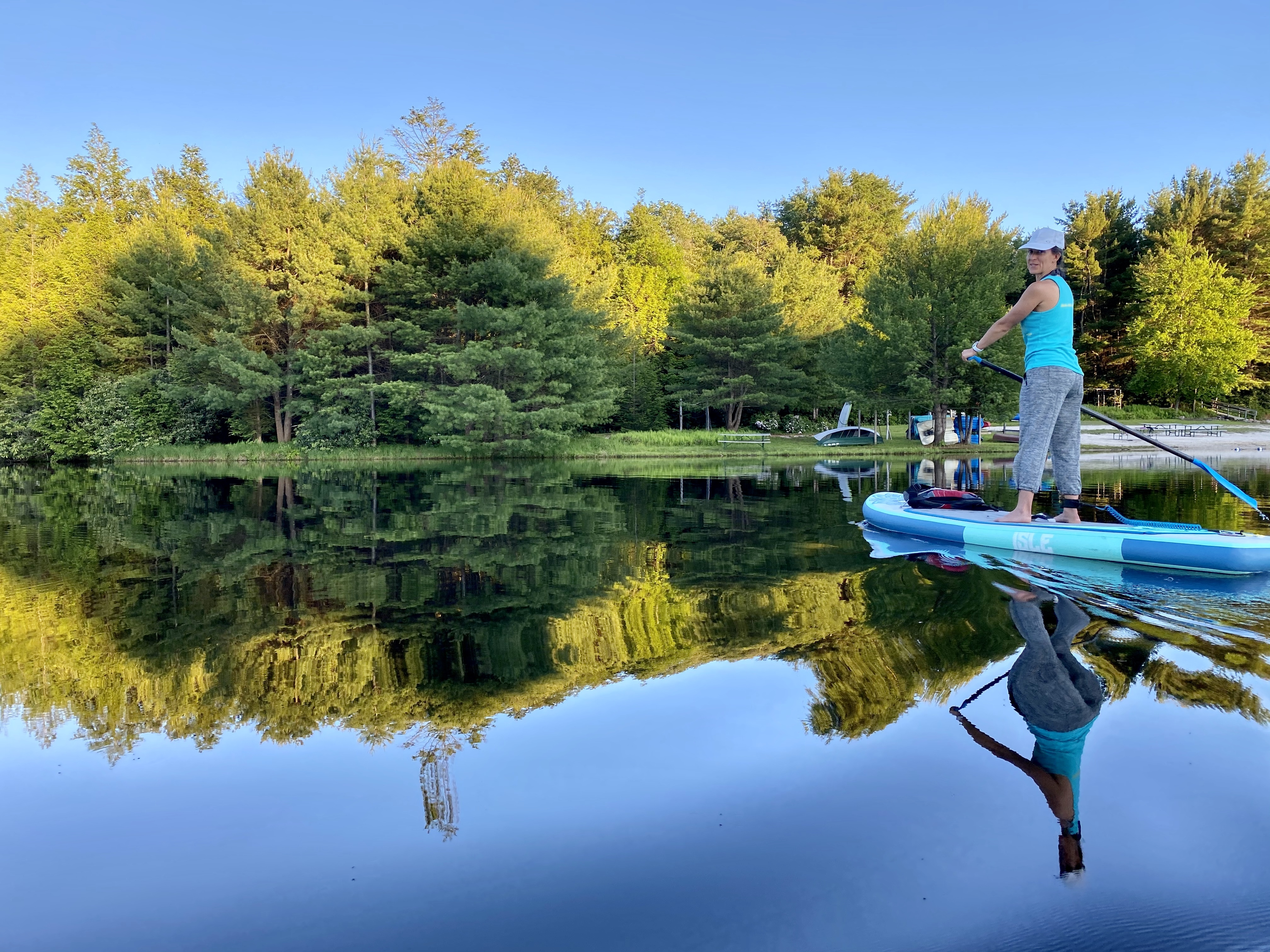 Lisa paddling on lake in Poconos