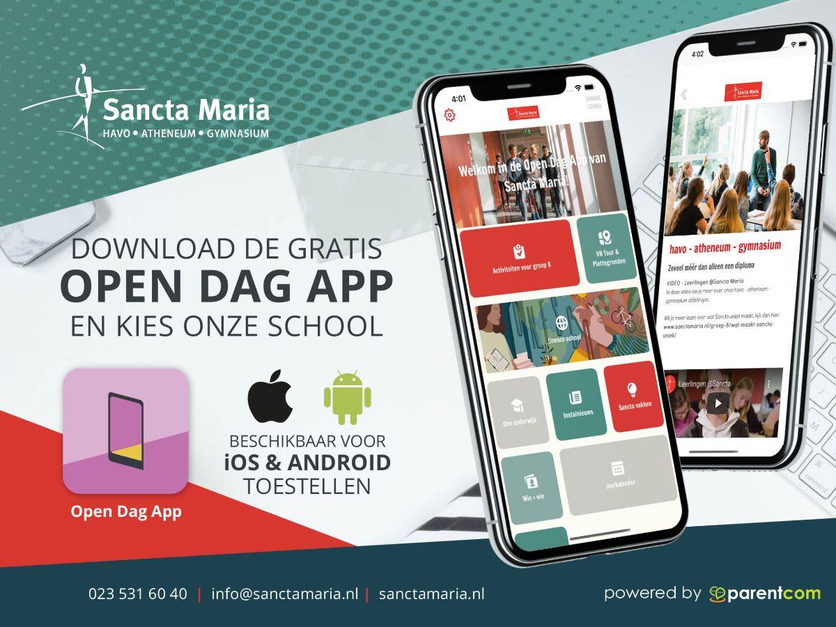 Download de Open Dag App voor alle Sancta Info voor groep 8