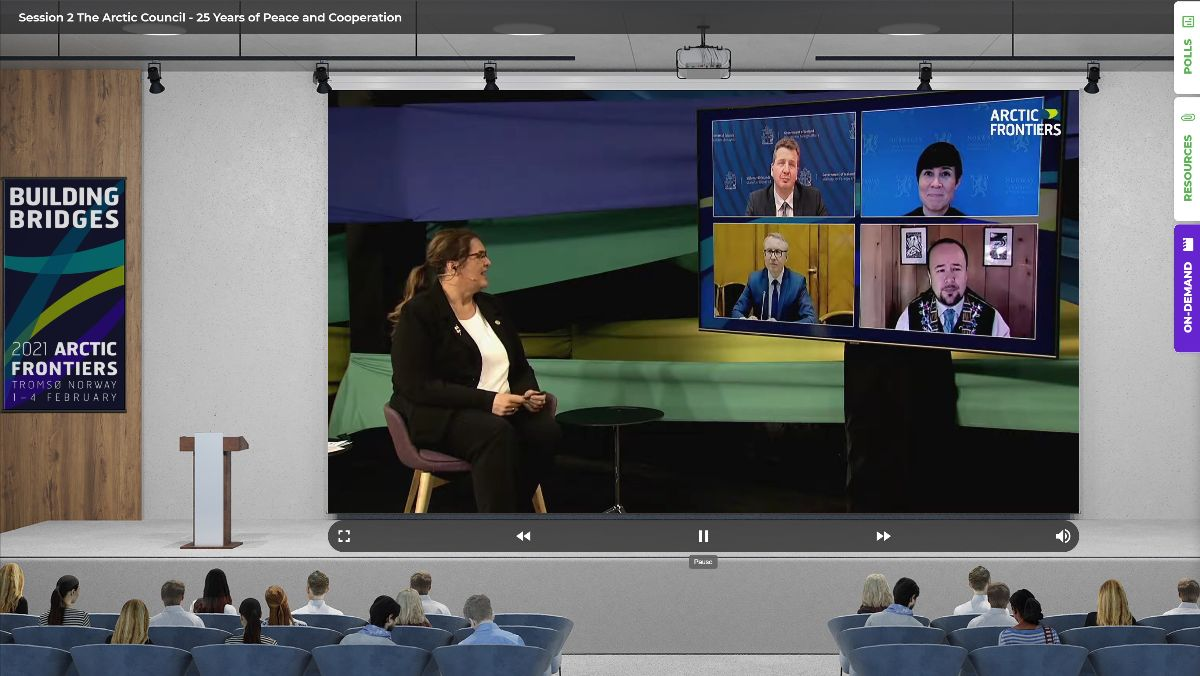Screenshot from the virtual Arctic Frontiers panel