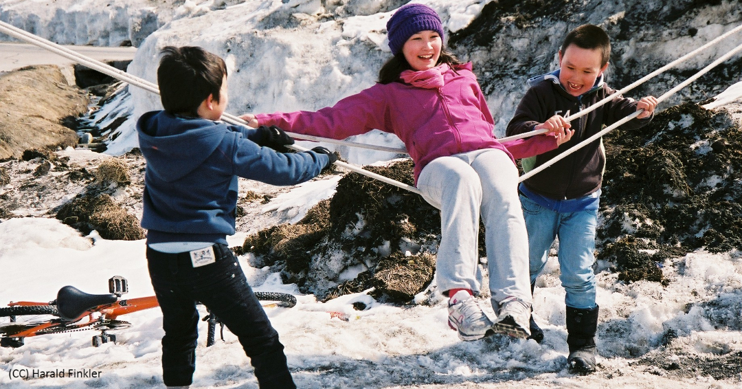 Kids playing in Greenland