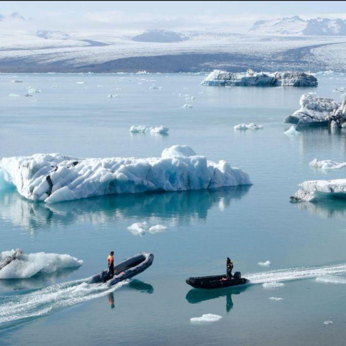 Zodiaks in Arctic waters