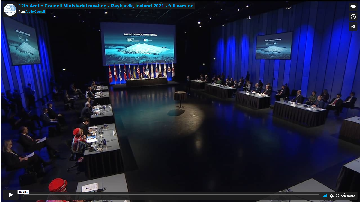 Screenshot of the Ministerial meeting recording