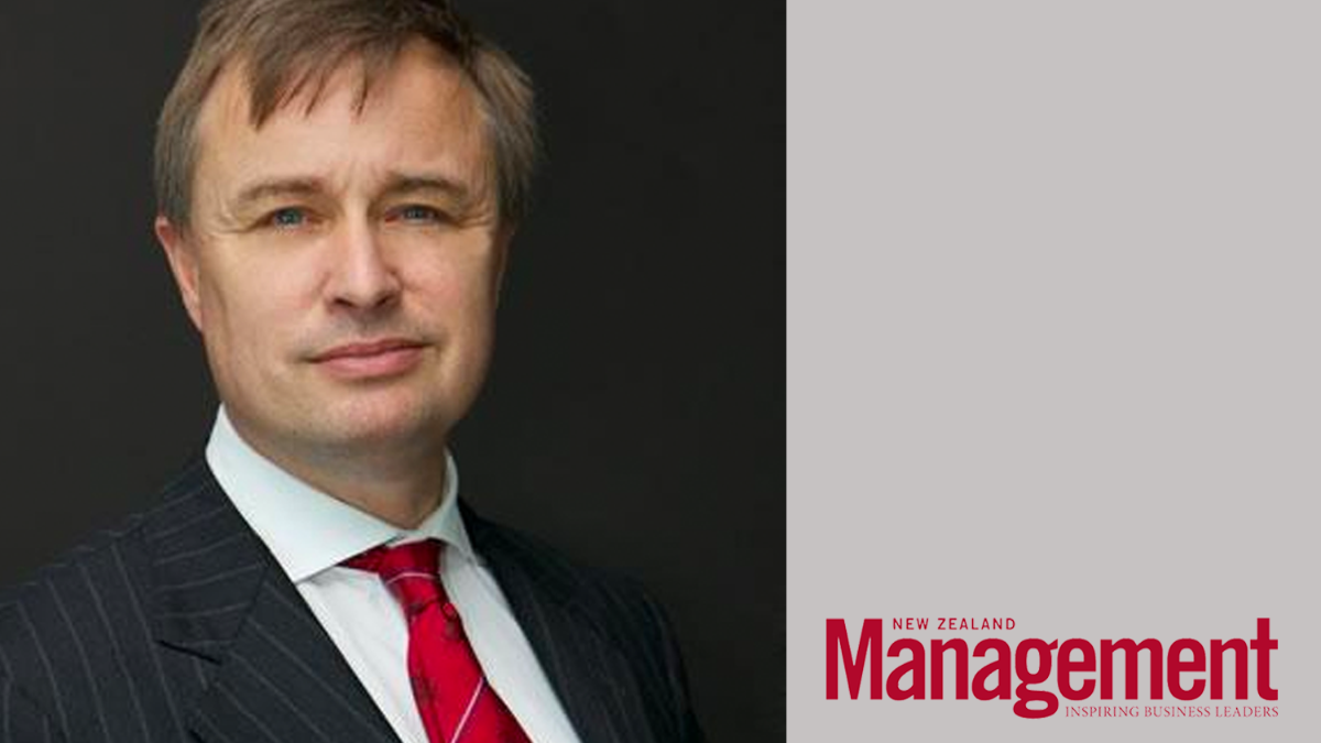 Picture of John Allen on the left with the New Zealand Management magazine logo on the right in red
