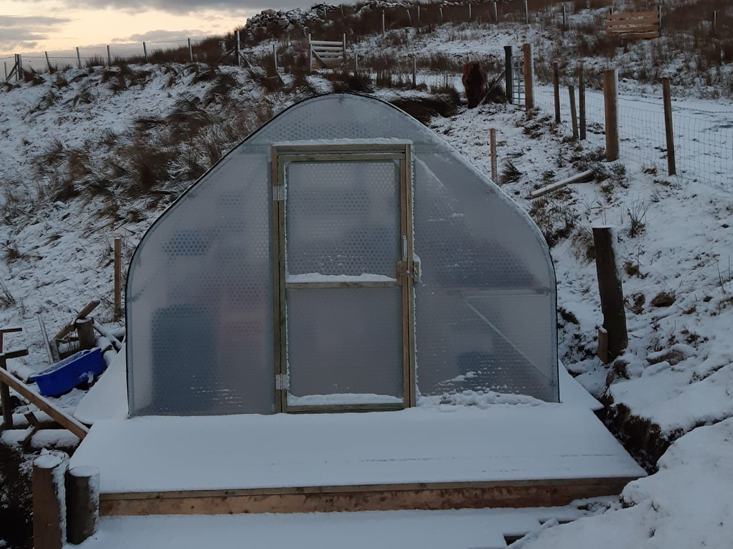 3m x 6m Keder Greenhouse finished on its platform with snow