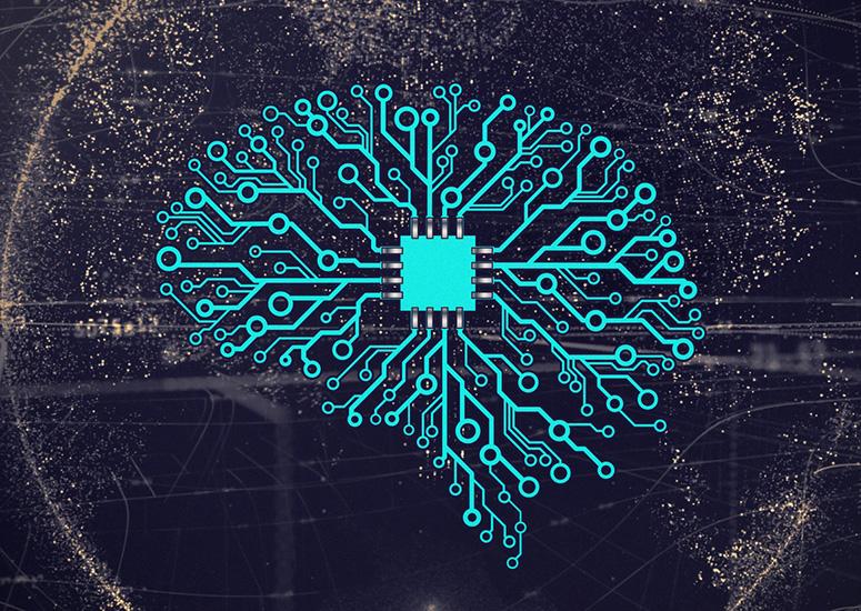 Artist's rendering of a brain as digital circuitry