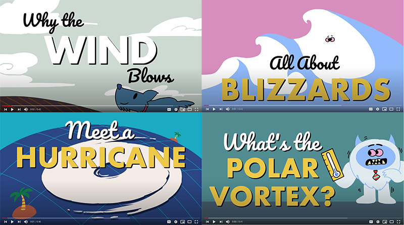 Four screen shots from the animated videos: Why the wind blows, All about blizzards, Meet a hurricane, and What's the polar vortex?